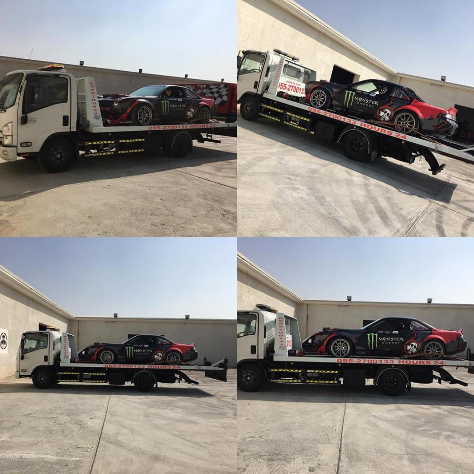 sports car recovery in our truck in sports club abu dhabi.